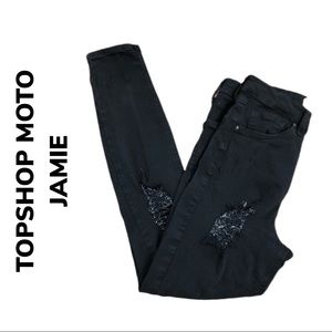 TOPSHOP MOTO JAMIE Black Distressed Jeans
